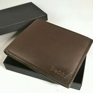 BROWN Personalised Engraved Leather  Wallet + GIFT BOX Daddy Birthday Dad