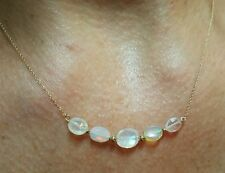 Moonstone and fire Opal solid 14k gold necklace