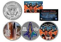 SPACE SHUTTLE COLUMBIA STS-107 In Memoriam JFK Half Dollar U.S. 3 Coin Set NASA
