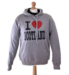 I love Scotland Hoodie, Men's Jumper, Grey, Size Large, LI-SCO-0021