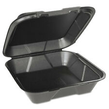 Genpak Foam Hinged Carryout Containers 1-Compartment Black 100/Bag 2/CT