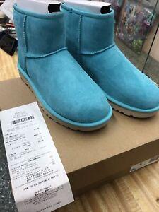 NEW UGG Women's Classic Mini  II Suede Leather Winter Boot SEA GREEN SIZE 9