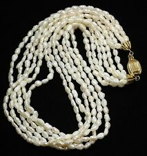 Vintage Ornate 6-Strand Cultured Freshwater Keshi Pearl Matinee Collar Necklace