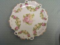 "Vintage H & G Bavarian 11-1/2"" diameter 2 Handled Cake Serving Plate VGC"
