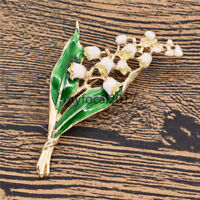 Lily Of The Valley Enamel Brooch Vintage Green Leaf Pin for Women Party Fashion