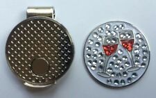 NEW Crystal Red Wine Golf Ball Marker + Free Magnetic Hat Clip