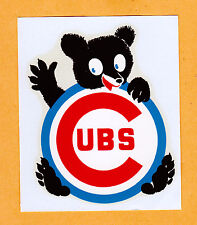 RARE OLD 1960's BASEBALL DECAL CHICAGO CUBS UNUSED STOCK 4 inch CUBBIES
