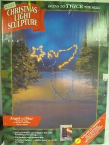 """MR CHRISTMAS LIGHT SCULPTURE  ANGEL WITH STAR 51"""" X 39""""   OUTDOOR YARD DISPLAY"""