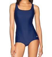 Speedo Women's Swimwear Navy Blue Size 12 One-Piece Open-Back Solid $68 #450