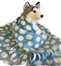 BLUE DOTS,Fuzee Fleece Dog Blankets, Soft Pet Blanket Travel Throw