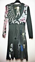 DESIGUAL Long Sleeve V-neck Knee Length A-line Thick Cotton Dress size Small