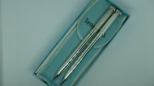 VINTAGE TIFFANY & CO STERLING SILVER T-CLIP BALL POINT PEN PENCIL SET BOX POUCH