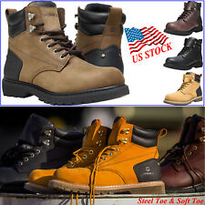 HISEA Men's Work Boots Genuine Leather Round Toe Lace Up Work Safety Shoes Boots