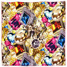 "Women's 100% Twill Silk Scarf / Multi-color / Jewelry Print / 34"" X 34"""