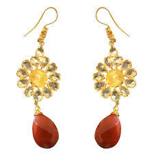 Lovely Red Onyx & Quartz 925 Sterling Silver Gold Plated Earrings For Gift