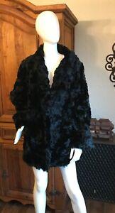 VINTAGE 1930's 40's Black Sheared Seal Fur Coat
