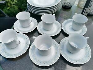 SET OF SIX PRETTY PASTEL BLUE CROWN MING PORCELAIN CUPS AND SAUCERS LOOK UNUSED