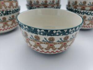 7 Tienshan Folkcraft Gingerbread Man Cereal or Soup Bowls, Green Spongeware Xmas