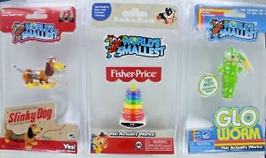 Lot/3 World's Smallest Mini Toys - Gloworm, Slinky Dog, Fisher-Price Rock Stack