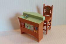 Fisher-Price Loving Family Dollhouse 2004 Kitchen Island Sink & Bar Stool EUC