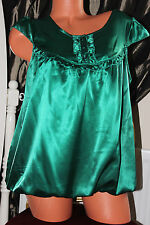 (S11) Shiny faux satin lined loose fit puffed hemline green blouse top size 12