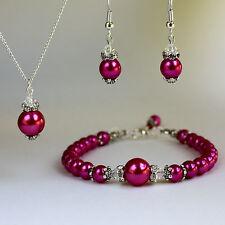 Hot pink vintage pearls crystal necklace bracelet earrings wedding silver set