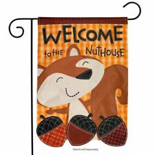 """Welcome To The Nuthouse Autumn Applique Garden Flag Fall Humor 12.5"""" x 18"""""""