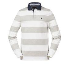 BOOTGLÜCK - MUSTO Edward Stripe Rugby Shirt Grey/Bright White - Gr. M - NEU