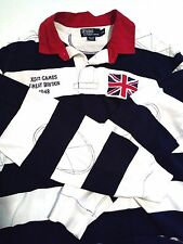 Polo Ralph Lauren Shirt Striped Great Britain Elbow Patches Rugby style XXL 2XL