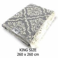 Plaid Tagesdecke BAROCK KING SIZE grau Couchdecke Sofa Decke 260 x 260 cm Cotton