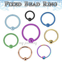 2pc 18g,16g,14g Anodized Fixed Ball Captive Bead Ring Ears Cartilage Tragus Nose