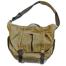 LL BEAN Canvas Cross Body Messenger Computer Laptop Bag Brass Buckle Zipper Tan