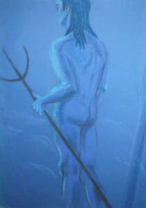 LARGE EXPRESSIONIST NUDE MAN WITH TRIDENT PASTEL PAINTING