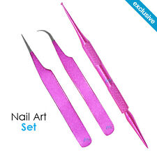 Nail Art Dotting Tool + TWEEZER Straight / Curve GEM Stone Applicator PINK SET