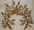 Pair Vintage Mid Century Metal Flower Blossom Branches Sculpture Wall Hangings