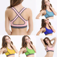 Womens Padded Bras Top Athletic Vest Gym Fitness Sports Yoga Stretch Ladies Bra