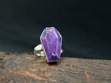 Purple Copper Turquoise Ring, Coffin Ring, 925 Sterling Silver Ring Size 12 xx28