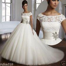 Neu Lager Weiß/Elfenbein Hochzeitskleid Brautjungfer Kleider Größe 38