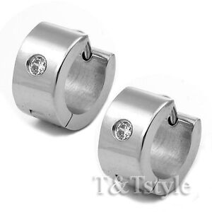 FASHION T&T Stainless Steel Hoop Earrings With CZ  NEW