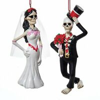 Day of the Dead Skull Bride and Groom Christmas Holiday Ornaments Set of 2