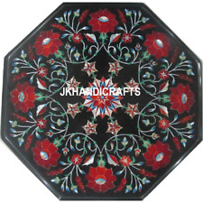 "18"" Black Marble Table Top Semi Precious Floral Inlaid Art Hallway Decor Gift"