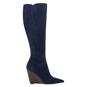 "NINE WEST - VARIN WIDE CALF, Navy blue GENUINE suede knee boots 3.5"" wedge SZ 12"