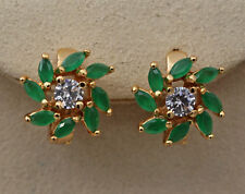 18K Yellow Gold Filled- Windwill Eye Emerald Topaz Jade Flower Hollow Earrings