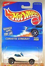 1995 Hot Wheels Blue/White Card #450 CORVETTE STINGRAY White w/5 Spoke Variation