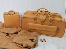 NEW Original Ferrari 308 328 Complete 3 Piece Cream Schedoni Leather Luggage Set