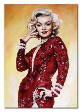 Marylin Monroe-70x50cm-Ölbild Dipinti Mano Tela Autografato G100859
