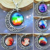 Galaxy Glass Hollow Moon Pendant Silver Tone Chain Necklace Choker Jewelry Gift