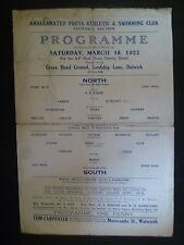 1922 Charity Football Programme: Northern Press v Southern Press @ Dulwich