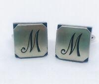 "Swank Vintage Cufflinks Cuff Links Ornate Scripted ""M"" Monogram"