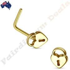 316L Surgical Steel Gold Ion Plated Pad Lock Top L Shaped Nose Stud